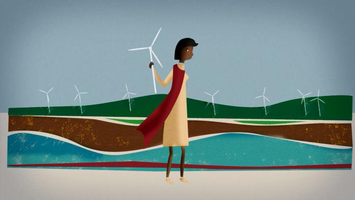 Eine gezeichnete Frau hält sich an einem Windrad fest.
