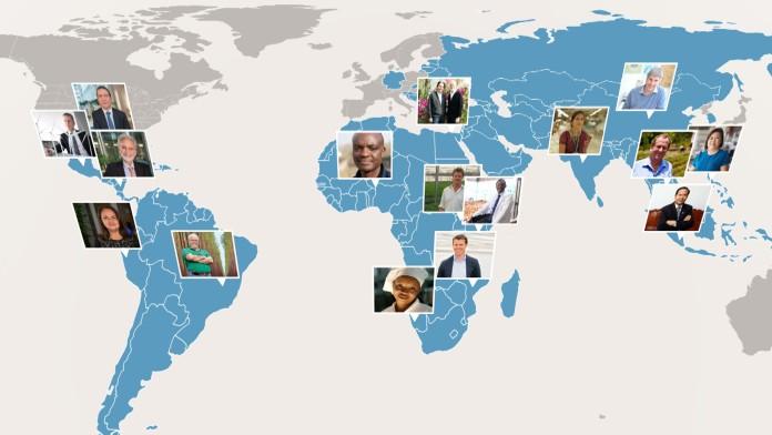 Weltkarte mit Fotos von DEG-Kunden