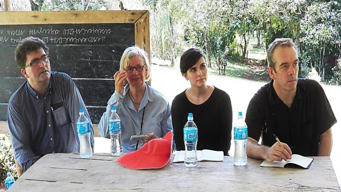 Independent Expert Panel visiting communities of the Ngöbe Buglé in Panama. From left to right: Michael Windfuhr, Maar-tje van Putten, Anne-Marie Lévesque (Panel support), Steve Gibbons.
