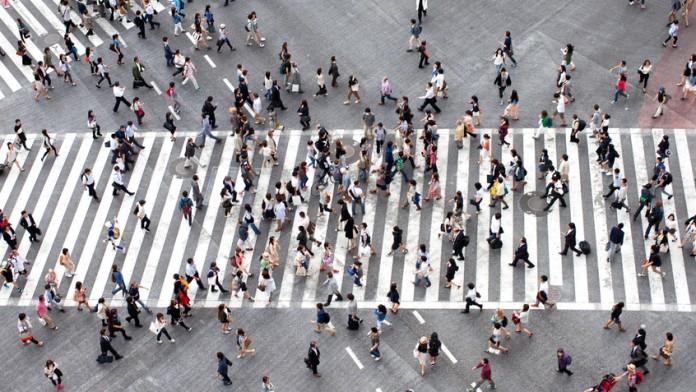 Fußgängerübergang aus der Vogelperspektive